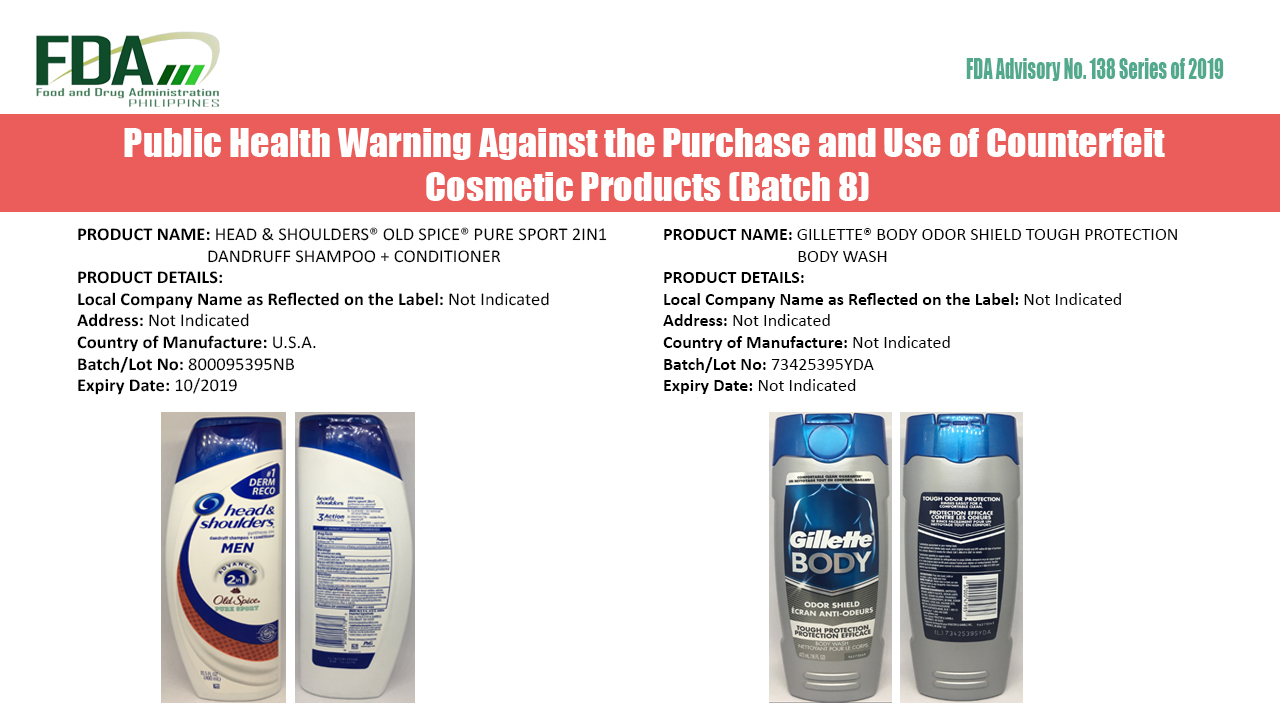 FDA Advisory No. 2019-138 || Public Health Warning Against the Purchase and Use of Counterfeit Cosmetic Products (Batch 8)