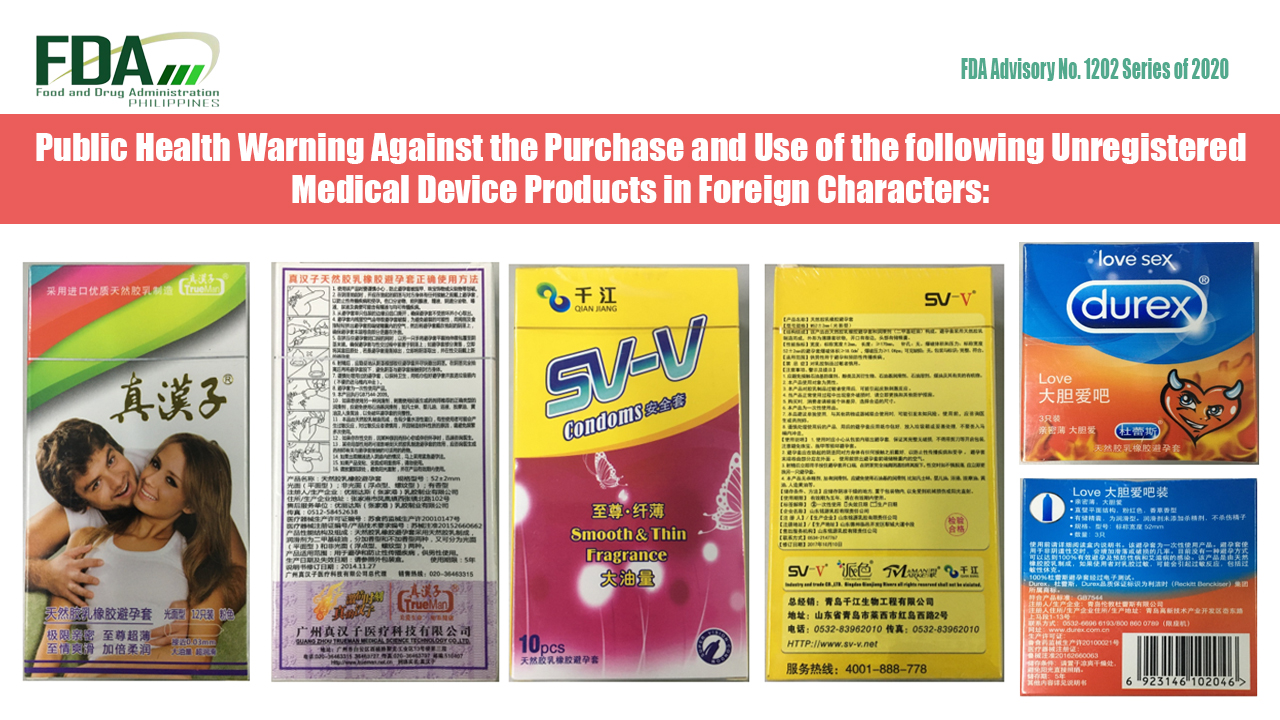 FDA Advisory No. 2020-1202 || Public Health Warning Against the Purchase and Use of the following Unregistered Medical Device Products in Foreign Characters: