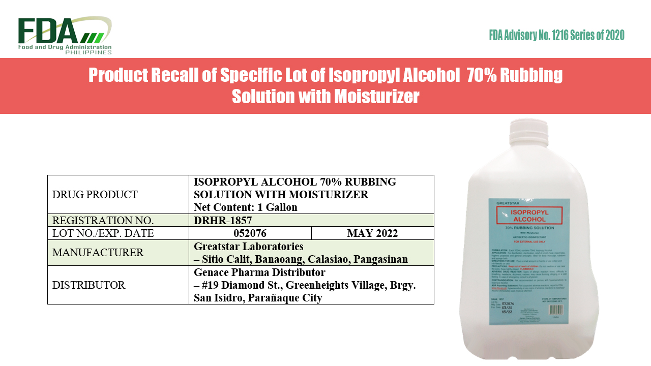 FDA Advisory No. 2020-1216    Product Recall of Specific Lot of Isopropyl Alcohol  70% Rubbing Solution with Moisturizer
