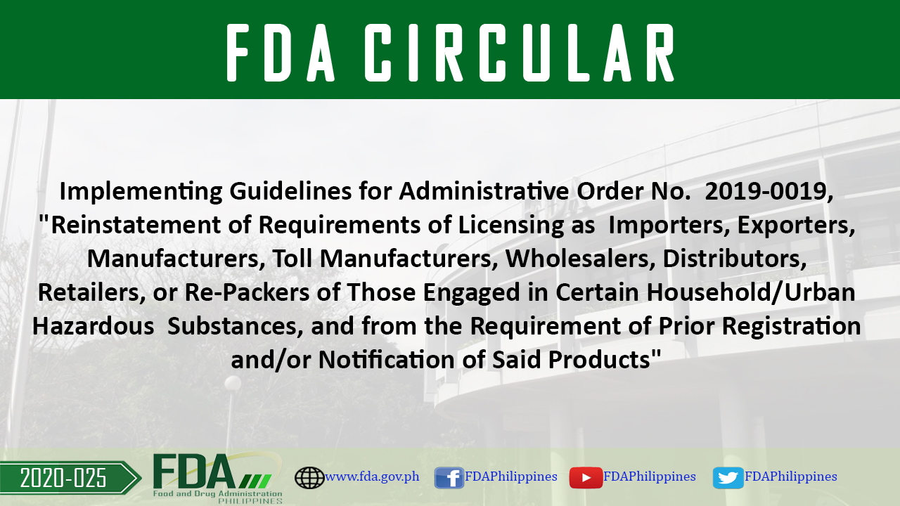 """FDA Circular No. 2020-025 